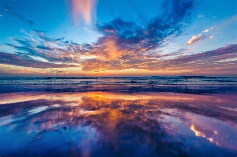 wallpaper samudra laut langit matahari terbenam pantai