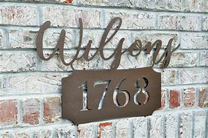 Personalized, Metal, Name, Sign, With, Street, Number