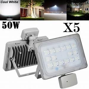 5x, 50w, Led, Flood, Light, Cool, White, Pir, Sensor, Spotlight, 110v, Outdoor, Garden, Lamp