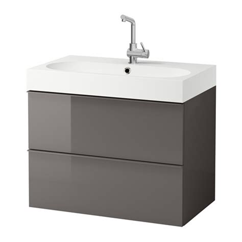 godmorgon bråviken sink cabinet with 2 drawers high gloss gray ikea