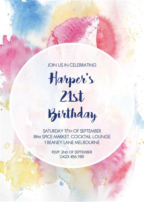 Watercolour 21st Birthda DP Birthday Invitations