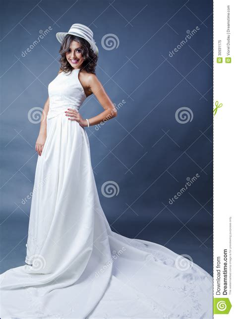wearing white to a wedding smiling bride with hat royalty free stock photo image 30931175