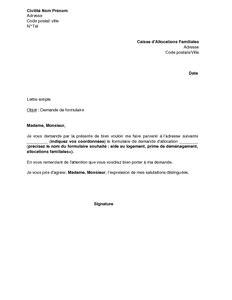 commission de recours amiable caf modele lettre lettre de demande 224 la caf d envoi d un formulaire d