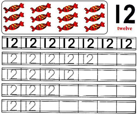 worksheet number 12 preschool number worksheets number 12