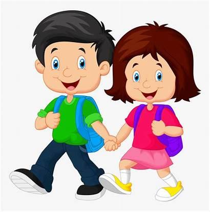 Clipart Going Clip Walking Student Child Children