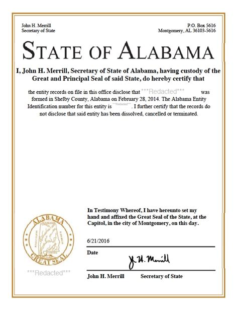 Certificate Of Good Standing by Alabama Certificate Of Good Standing Certificate Of