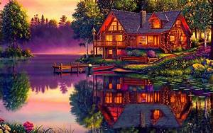 Log Cabin on the Lake Full HD Wallpaper and Background ...