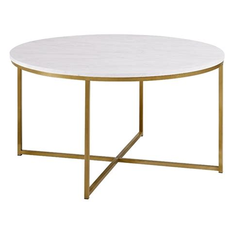 Free shipping and no sales tax. Modern Round White Faux-Marble Coffee Table with Gold Base - AF36ALCTMGD