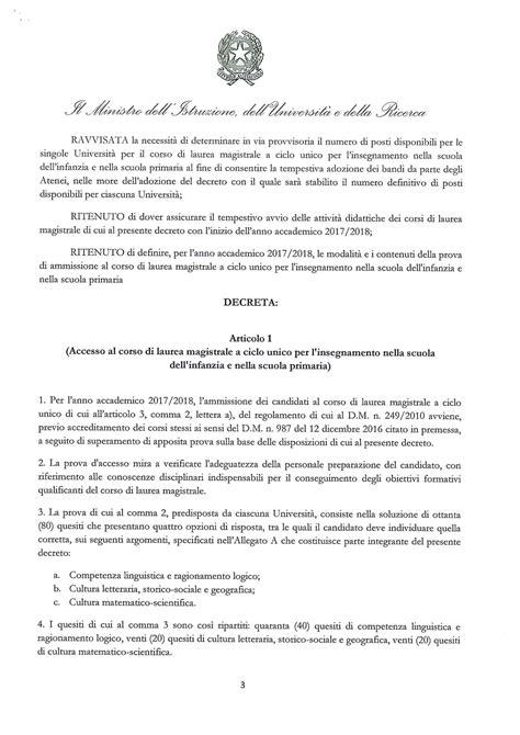 Test D Ingresso Scienze Della Formazione Test Scienze Della Formazione Primaria 2017 Il Bando