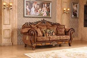 Elianna, Victorian, Style, Brown, Fabric, Sofa, U0026, Loveseat, W, Cherry, Finished, Wood