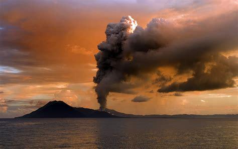 Volcano Landscape Clouds Sunset Sea Eruption