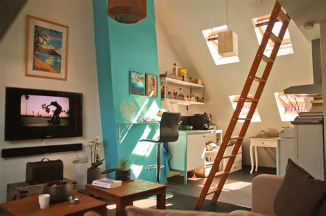 small apartment   pitched roof contemporary living room amsterdam