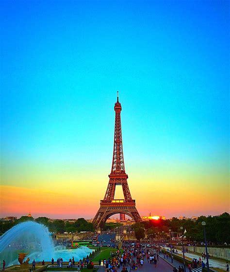 Eiffel Tower Paris France Beautiful Sunset In Paris