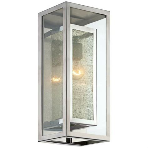 box chrome 15 1 2 inch h possini outdoor wall light