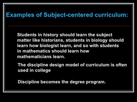 curriculum design and models