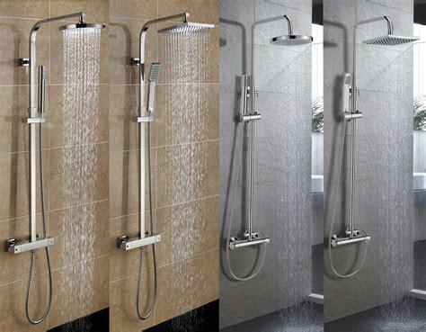 foxhunter bathroom mixer shower set twin head  square