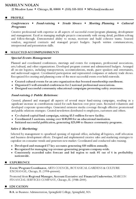 Conference Services Coordinator Resume by Resume Format Resume Exles Event Coordinator
