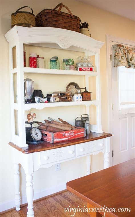 kitchen hutch  vintage farmhouse decor sweet pea