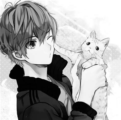 anime boy with cat name sylvester aka weapon a knife pet a white