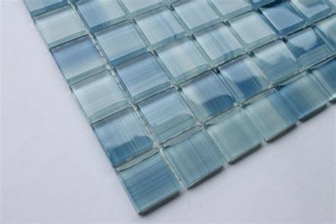 blue skies hand painted  glass mosaic tiles rocky