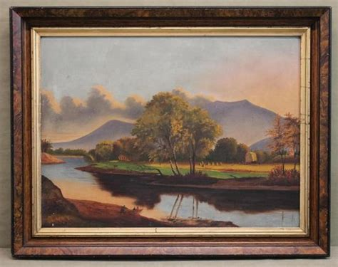 19thc Antique American Folk Art Landscape Oil Painting W
