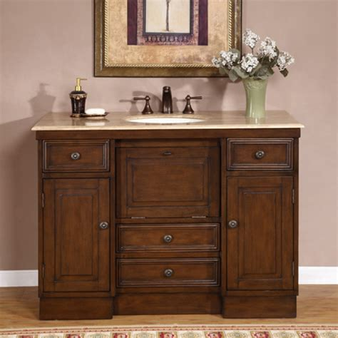 Bathroom Vanities - 48 inch single bathroom vanity with a walnut finish uvsr071848