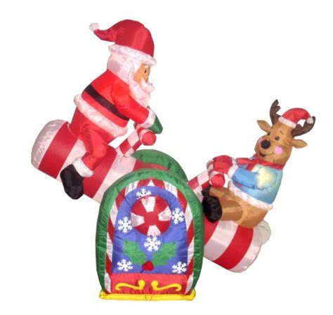 4 foot animated christmas inflatable santa claus and reindeer on teeter totter outdoor yard