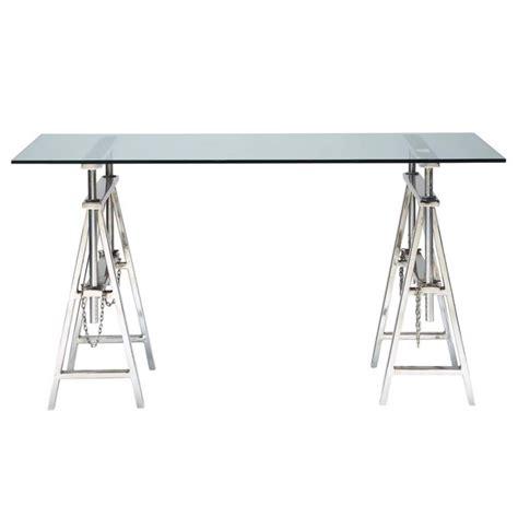 bureau verre metal bureau en verre et métal chromé l 150 cm helsinki
