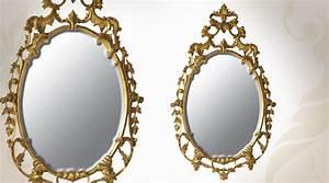 Miroir Baroque Doré : miroir ovale en acajou style baroque dor 114 cm ~ Teatrodelosmanantiales.com Idées de Décoration