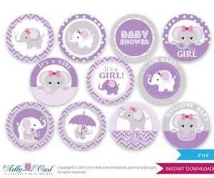 Purple Grey Girl Elephant Baby Shower Cupcake ToppersFavor