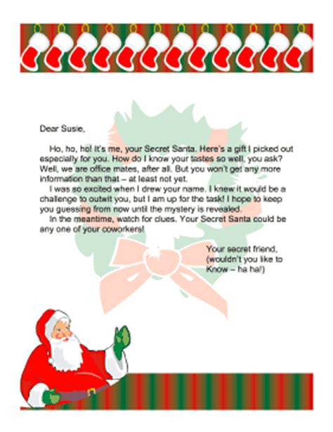 secret santa letter template secret santa letter church secret santa letter office 68441
