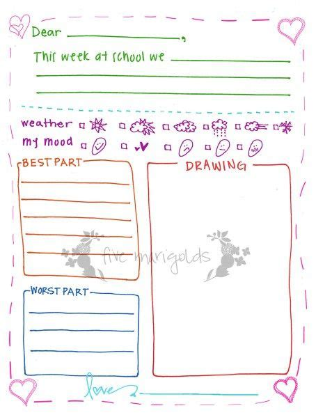 printable letter template  writing prompts