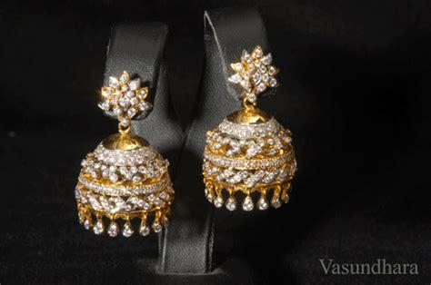 diamond jumkas earrings  vasundhara jewellers