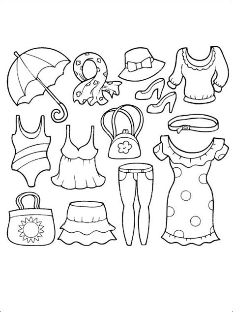 coloring cloth summer clothing coloring page coloring pages shrinky