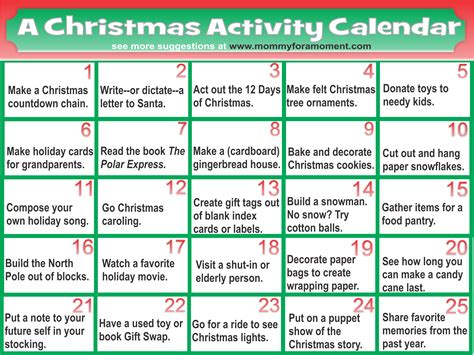 christmas activity calendar calendar template 2016