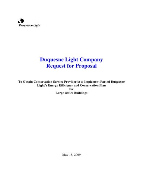 duquesne light company duquesne light company request for