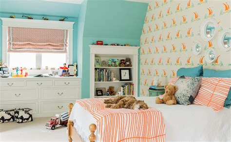 turquoise blue  orange kids rooms contemporary girl
