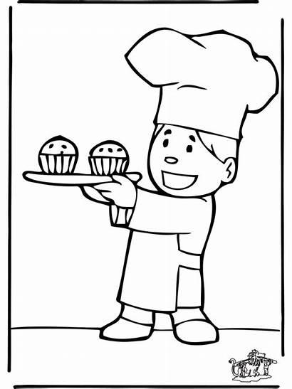 Bakker Baker Kleurplaten Boulanger Piekarz Coloriages Nukleuren