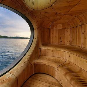 Grotto Sauna with a Curved Wood Interior by PARTISANS - Homeli