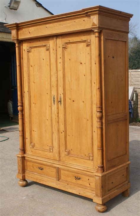 late  century large antique french solid pine armoire