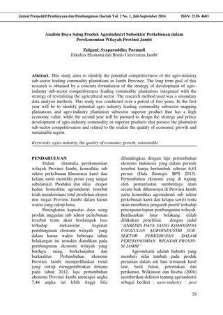 Analisis Daya Saing Produk Agroindustri Subsektor