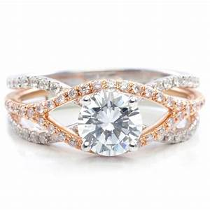 rose gold unique crossover diamond engagement ring rose With rose diamond wedding ring