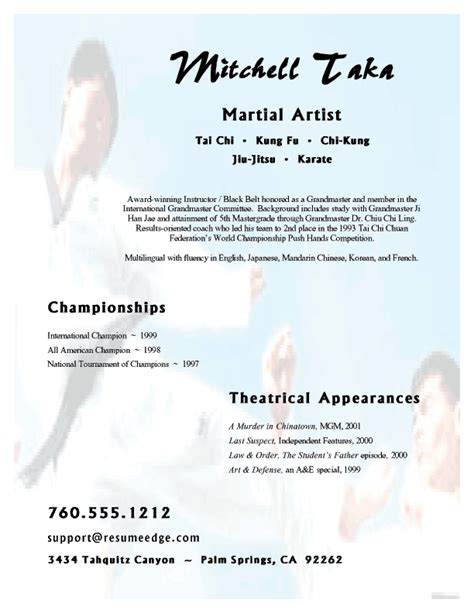 Writing An Artist S Resume by Martial Arts Resume Free Sle Resumes