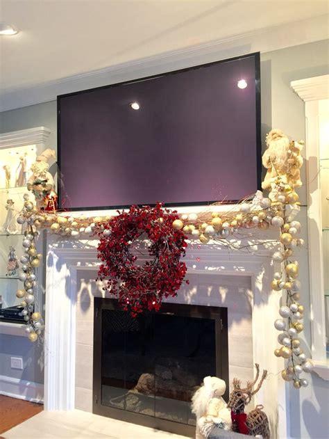 mantle decoration  christmas   big screen tv