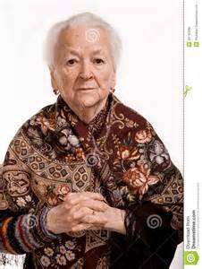 Old Woman Portrait White Background