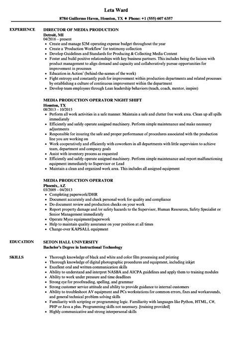 Production Operator Resume by Media Production Resume Sles Velvet