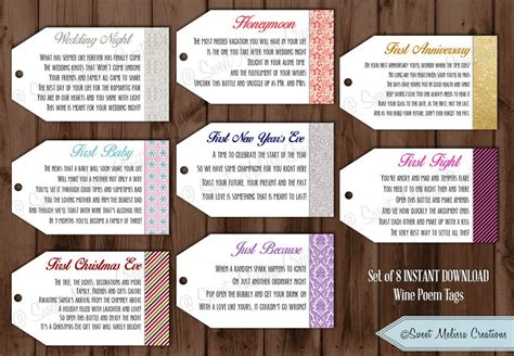 Wine Poem Bridal Shower - instant 1st milestone wine tags poems digital