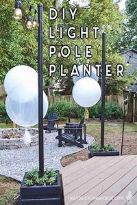 Diy Outdoor Light Pole Planters Around The Deck