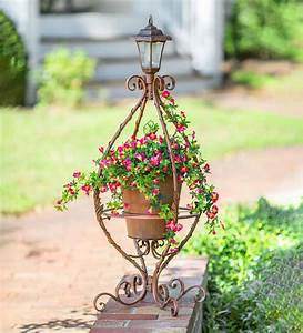 Antiqued, Wrought, Iron, Plant, Stand, With, Solar, Light