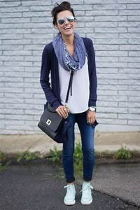 Blue Rain Jersey Cardigan u2022 Skinny Jeans u2022 White Shirtu2022 Blue Scarf u2022 Black Bag u2022 Mint Chuck ...